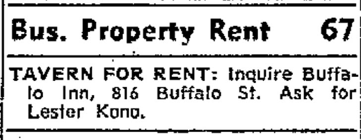 5-13-72 Buffalo Inn For Rent Ad