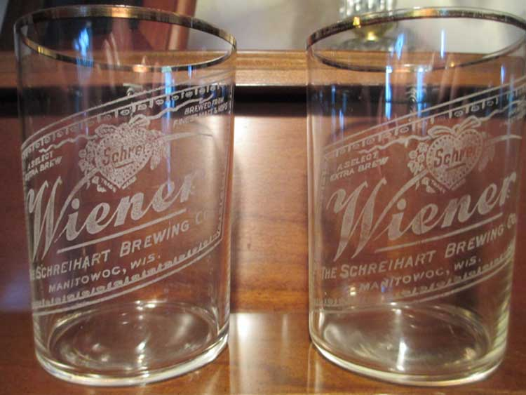 Schrehart Beer Glasses - Circa Early 1900s.